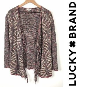 Lucky Brand Woven Fringe Open Cardigan Pink Small